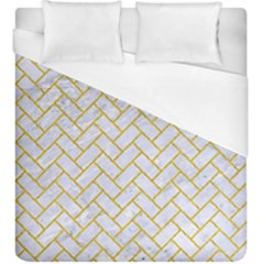 Brick2 White Marble & Yellow Denim (r) Duvet Cover (king Size) by trendistuff