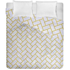 Brick2 White Marble & Yellow Denim (r) Duvet Cover Double Side (california King Size) by trendistuff