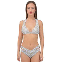 Brick2 White Marble & Yellow Denim (r) Double Strap Halter Bikini Set by trendistuff