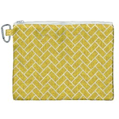 Brick2 White Marble & Yellow Denim Canvas Cosmetic Bag (xxl) by trendistuff