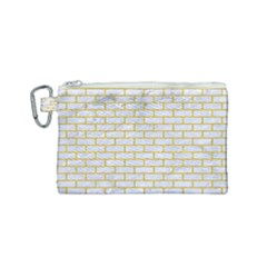 Brick1 White Marble & Yellow Denim (r) Canvas Cosmetic Bag (small) by trendistuff