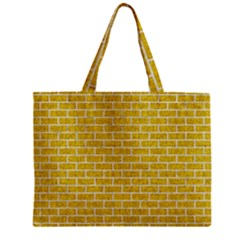 Brick1 White Marble & Yellow Denim Zipper Mini Tote Bag by trendistuff