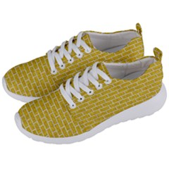 Brick1 White Marble & Yellow Denim Men s Lightweight Sports Shoes by trendistuff