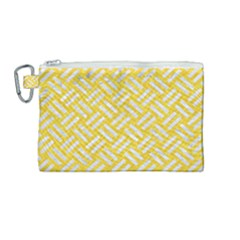 Woven2 White Marble & Yellow Colored Pencil Canvas Cosmetic Bag (medium) by trendistuff