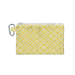 Woven2 White Marble & Yellow Colored Pencil Canvas Cosmetic Bag (small) by trendistuff