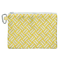 Woven2 White Marble & Yellow Colored Pencil Canvas Cosmetic Bag (xl) by trendistuff