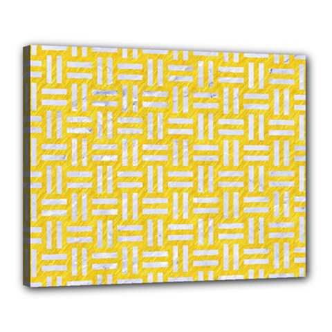 Woven1 White Marble & Yellow Colored Pencil Canvas 20  X 16  by trendistuff