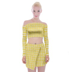 Woven1 White Marble & Yellow Colored Pencil Off Shoulder Top With Mini Skirt Set