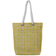 Woven1 White Marble & Yellow Colored Pencil Full Print Rope Handle Tote (small) by trendistuff