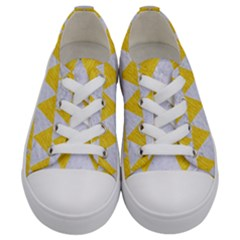 Triangle2 White Marble & Yellow Colored Pencil Kids  Low Top Canvas Sneakers