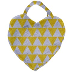 Triangle2 White Marble & Yellow Colored Pencil Giant Heart Shaped Tote