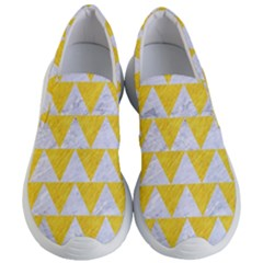 Triangle2 White Marble & Yellow Colored Pencil Women s Lightweight Slip Ons
