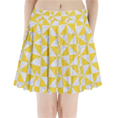 Triangle1 White Marble & Yellow Colored Pencil Pleated Mini Skirt