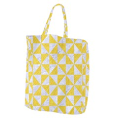 Triangle1 White Marble & Yellow Colored Pencil Giant Grocery Zipper Tote by trendistuff