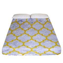 Tile1 White Marble & Yellow Colored Pencil (r) Fitted Sheet (california King Size) by trendistuff
