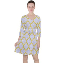 Tile1 White Marble & Yellow Colored Pencil (r) Ruffle Dress