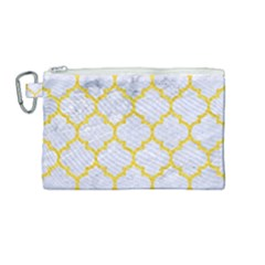 Tile1 White Marble & Yellow Colored Pencil (r) Canvas Cosmetic Bag (medium) by trendistuff