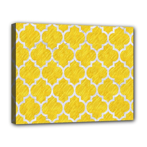 Tile1 White Marble & Yellow Colored Pencil Canvas 14  X 11