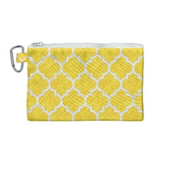 Tile1 White Marble & Yellow Colored Pencil Canvas Cosmetic Bag (medium) by trendistuff