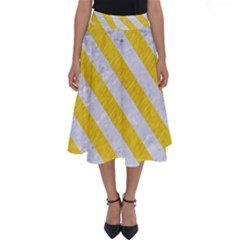 Stripes3 White Marble & Yellow Colored Pencil Perfect Length Midi Skirt
