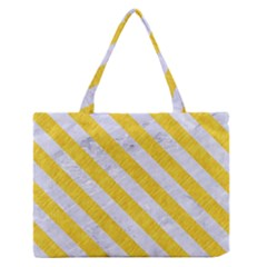 Stripes3 White Marble & Yellow Colored Pencil Zipper Medium Tote Bag by trendistuff