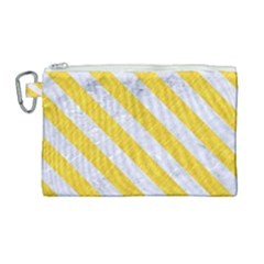Stripes3 White Marble & Yellow Colored Pencil Canvas Cosmetic Bag (large) by trendistuff
