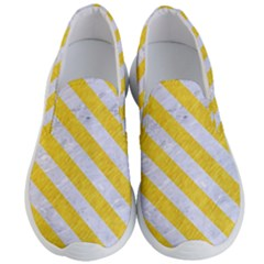Stripes3 White Marble & Yellow Colored Pencil Men s Lightweight Slip Ons