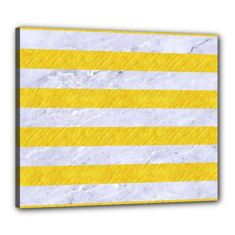 Stripes2white Marble & Yellow Colored Pencil Canvas 24  X 20  by trendistuff