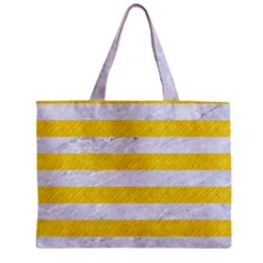 Stripes2white Marble & Yellow Colored Pencil Zipper Mini Tote Bag by trendistuff