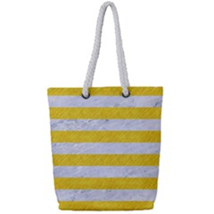 Stripes2white Marble & Yellow Colored Pencil Full Print Rope Handle Tote (small)