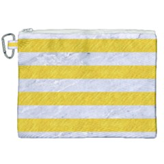 Stripes2white Marble & Yellow Colored Pencil Canvas Cosmetic Bag (xxl)