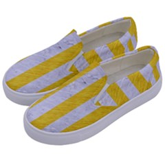 Stripes1 White Marble & Yellow Colored Pencil Kids  Canvas Slip Ons by trendistuff