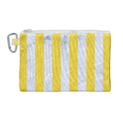 Stripes1 White Marble & Yellow Colored Pencil Canvas Cosmetic Bag (large) by trendistuff