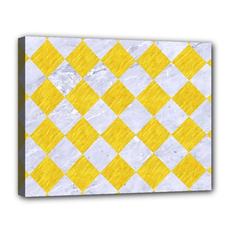 Square2 White Marble & Yellow Colored Pencil Canvas 14  X 11
