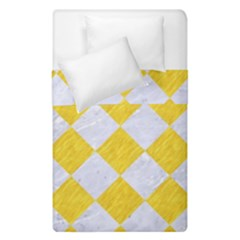 Square2 White Marble & Yellow Colored Pencil Duvet Cover Double Side (single Size) by trendistuff