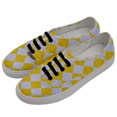 Square2 White Marble & Yellow Colored Pencil Men s Classic Low Top Sneakers by trendistuff
