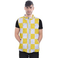 Square1 White Marble & Yellow Colored Pencil Men s Puffer Vest