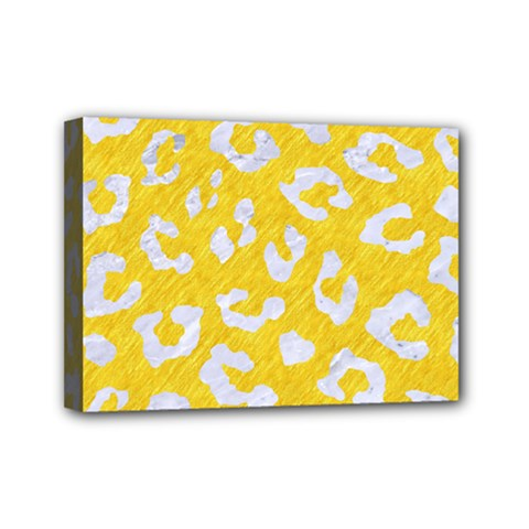 Skin5 White Marble & Yellow Colored Pencil (r) Mini Canvas 7  X 5  by trendistuff