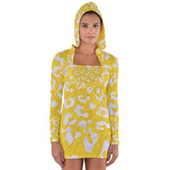 Skin5 White Marble & Yellow Colored Pencil (r) Long Sleeve Hooded T Shirt