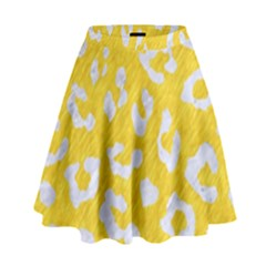 Skin5 White Marble & Yellow Colored Pencil (r) High Waist Skirt