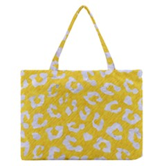 Skin5 White Marble & Yellow Colored Pencil (r) Zipper Medium Tote Bag by trendistuff