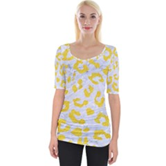 Skin5 White Marble & Yellow Colored Pencil Wide Neckline Tee by trendistuff