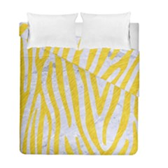Skin4 White Marble & Yellow Colored Pencil Duvet Cover Double Side (full/ Double Size) by trendistuff