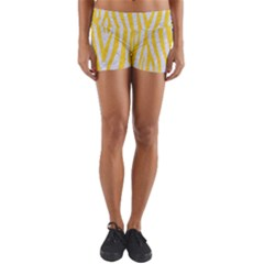 Skin4 White Marble & Yellow Colored Pencil Yoga Shorts
