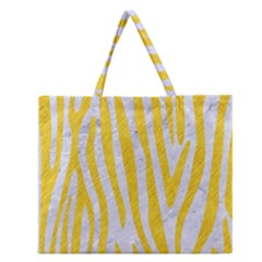Skin4 White Marble & Yellow Colored Pencil Zipper Large Tote Bag by trendistuff