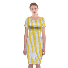 Skin4 White Marble & Yellow Colored Pencil Classic Short Sleeve Midi Dress