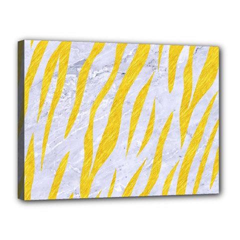 Skin3 White Marble & Yellow Colored Pencil (r) Canvas 16  X 12  by trendistuff