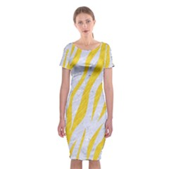 Skin3 White Marble & Yellow Colored Pencil (r) Classic Short Sleeve Midi Dress