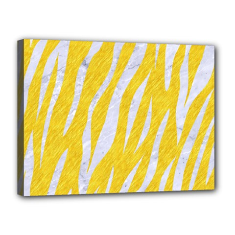 Skin3 White Marble & Yellow Colored Pencil Canvas 16  X 12  by trendistuff