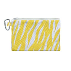 Skin3 White Marble & Yellow Colored Pencil Canvas Cosmetic Bag (medium) by trendistuff